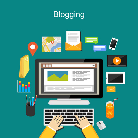article marketing: Blogging illustration concept.