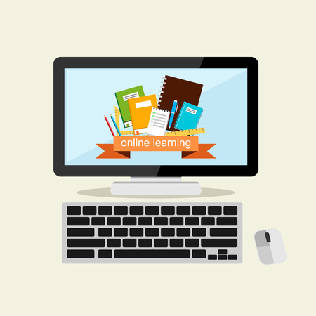 international students: Online learning flat design illustration.