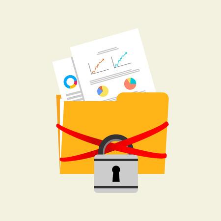 Locked files folder concept. Data protection concept. Illustration