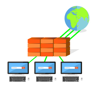 proxy: Network security firewall concept. IT background. Illustration