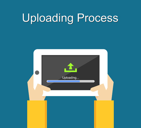 uploading: Uploading process on screen of tablet concept illustration. Flat design. Uploading bar status.