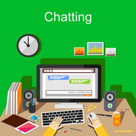 Chatting concept illustration. Online chatting application on desktop. Stock Illustratie