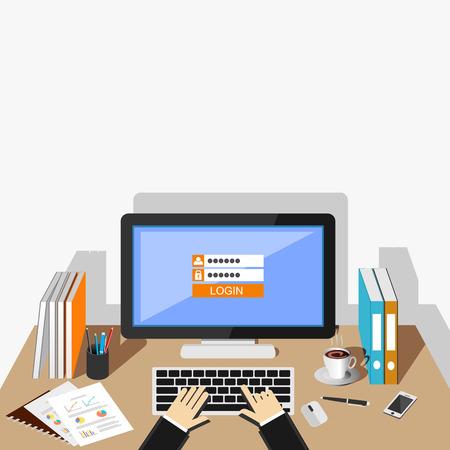 user: Login form illustration. Flat design. Login form on desktop screen illustration concept.