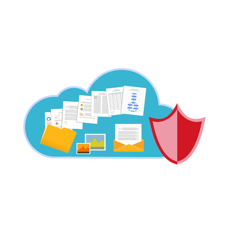 sharing: Cloud storage protection concept. Illustration