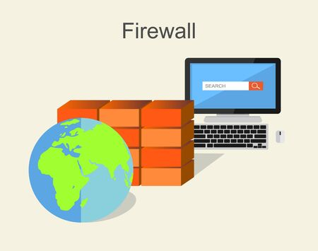 Computer firewall concept. Computer security firewall illustration. Illustration