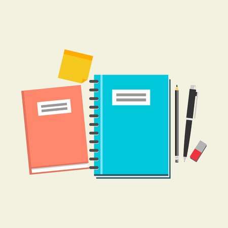 study icon: Minimalist concept of education. Study equipment icon. Textbook, pen, eraser, pencil, and reminder icon.
