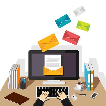 개념: 이메일입니다. 전송 또는 이메일 개념 그림을 수신하는 단계를 포함한다. 평면 디자인. 이메일 마케팅. 방송 이메일.