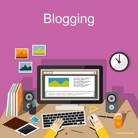 article writing: Blogging concept illustration. Flat design.