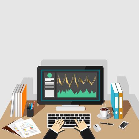 manage: Stock market illustration. Monitoring trade or analyzing graph on desktop screen.