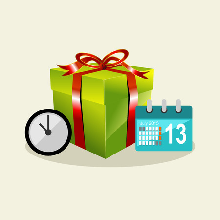surprise box: Waiting time to give a surprise. Gift box. Celebrating birthday. Illustration