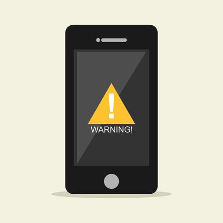 Warning notification on mobile phone.