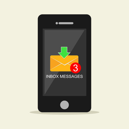 notification: Inbox messages notification on mobile phone concept. Illustration