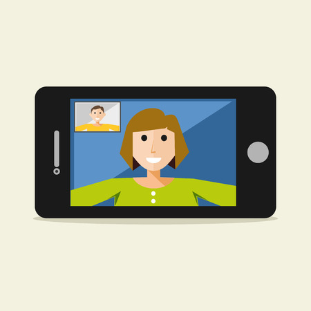 Video call on mobile phone. Video call concept. Flat design.