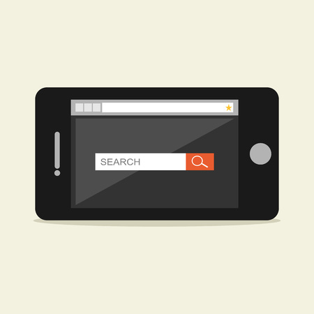 screen search: Search form on phone screen illustration.