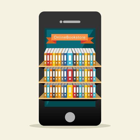 biblioteca: Biblioteca en línea o concepto de biblioteca digital. Vectores