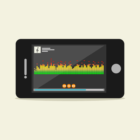listening: Music player illustration. Flat design. Music player interface on phone screen illustration. Media player concept.