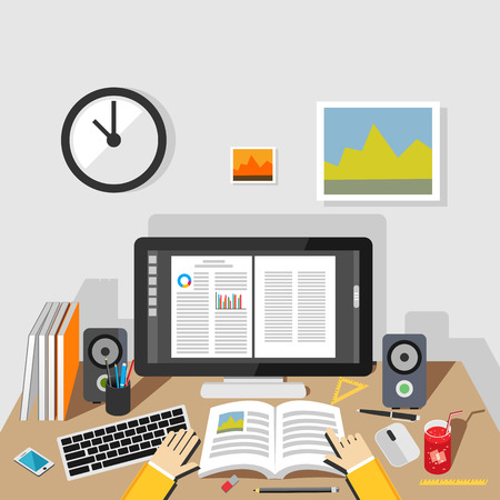 writing materials: Studying illustration. Studying concept.  Flat design illustration concepts for studying, working, reading, analysis, planning, writing, development, brainstorming. Illustration