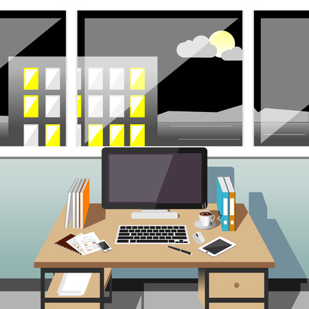 the night: Office workplace at night. Illustration