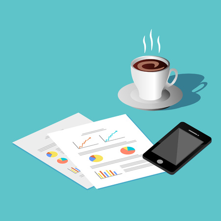 phone time: Leisure time concept. Document, phone, and coffee icon. Illustration