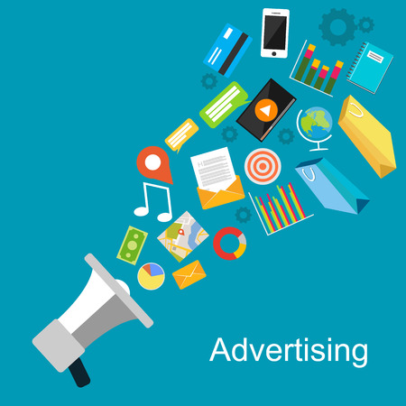Advertising concept illustration. Stock Illustratie