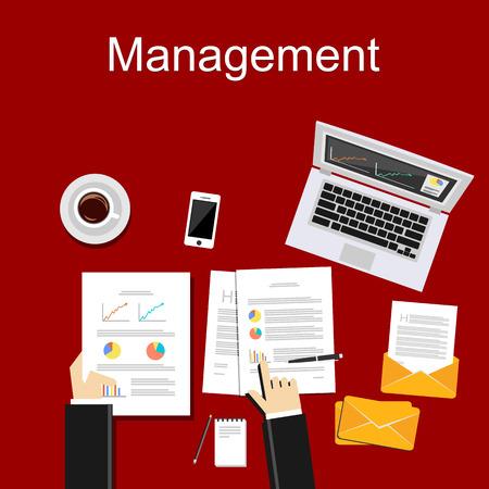 career management: Management concept illustration. Business background. Flat design illustration concepts for business, finance, career, employment, or brainstorming.