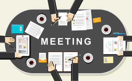 Meeting concept illustration. Flat design. Discussion concept illustration. Brainstorming concept. Define conclusion.