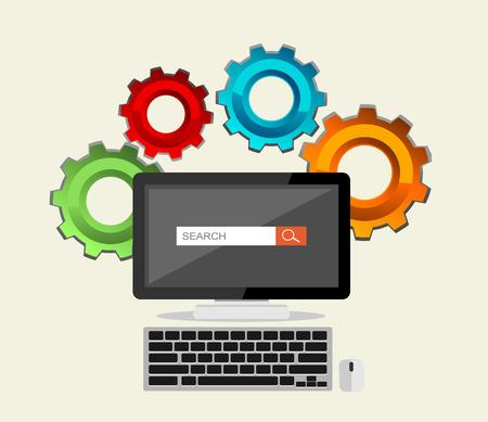 ilustración diseño plano para SEO concepto, motor de búsqueda, el proceso de búsqueda.