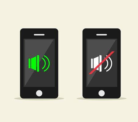 silencio: Ilustración Silencio. Diseño plano. Icono de silenciar o activar en la pantalla del teléfono Ilustración de concepto. Control de volumen. Vectores