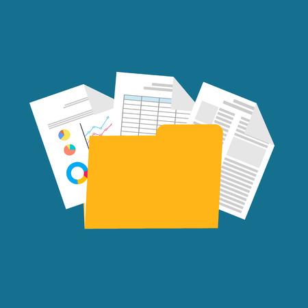 Flat design illustration for business documents, business report, spreadsheet.