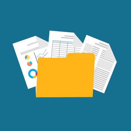 Flat design illustration for business documents, business report, spreadsheet.