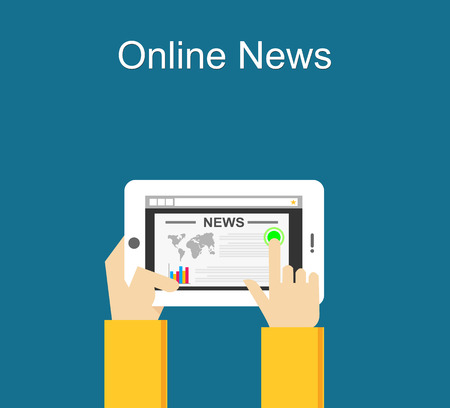 reading news: Online news concept illustration. Reading online news on smartphone concept. Flat design.