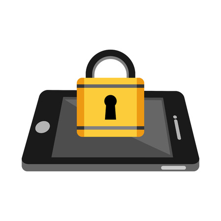 protected database: Locked mobile phone concept. Data private protection concept.