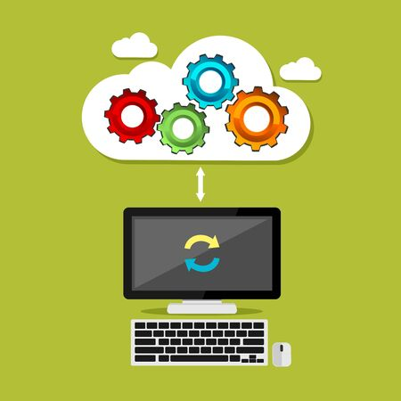 syncing: Cloud computing mechanism concept. Cloud computing syncing process. Technology background.