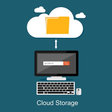 storage: Cloud storage or cloud computing concept illustration.