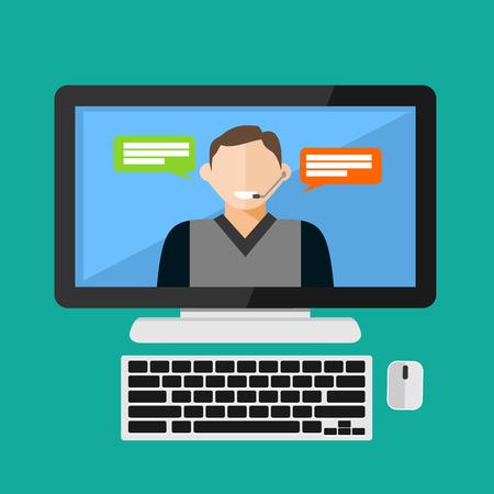 online service: Customer service assistance, Service support, Online support, Call center concept illustration. Flat design.