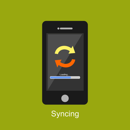 syncing: Syncing illustration. Flat design. Syncing process on devices concept. Illustration