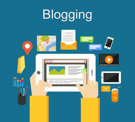 ブログのイラストのコンセプトです。携帯電話のコンセプトのブログ。  イラスト・ベクター素材