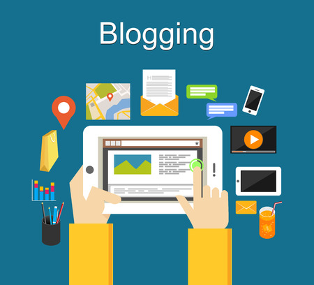 Blogging illustration concept. Blogging on mobile phone concept. Illustration