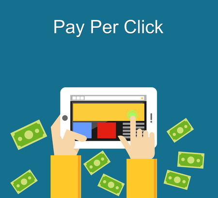 per: Pay per click flat design illustration.