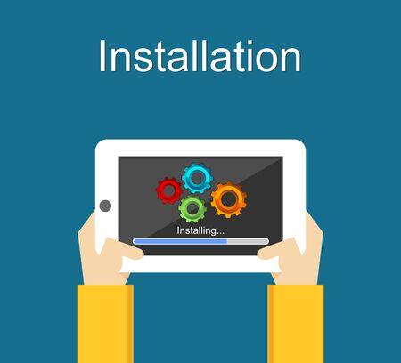 installation: Installation concept illustration. Installation application on smartphone concept. Installation process.
