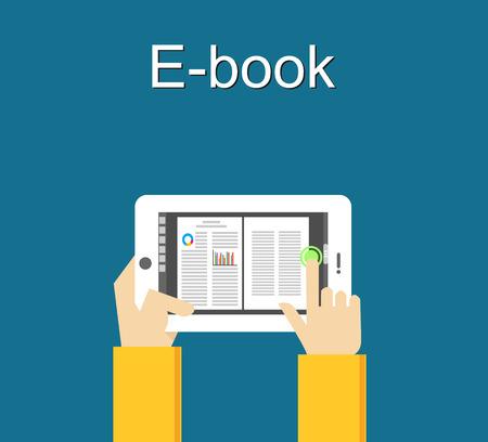 Electronic book concept. Digital book concept. Reading E-book on smartphone concept illustration. Stock Illustratie