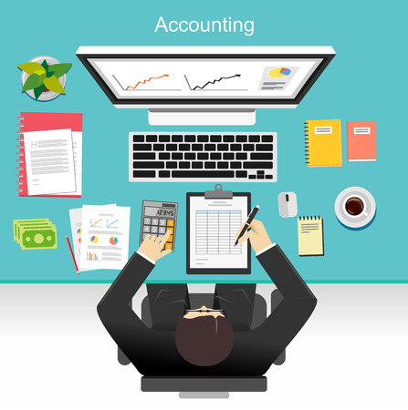 pen and paper: Business accounting concept illustration.