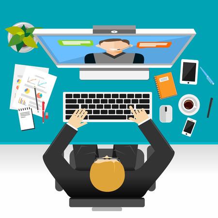 Wideokonferencja lub połączenia wideo koncepcji ilustracji. Ilustracje wektorowe