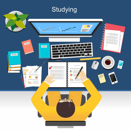 thesis: Studying concept illustration.  Flat design illustration concepts for studying, working, business, analysis, planning, writing, development, brainstorming.