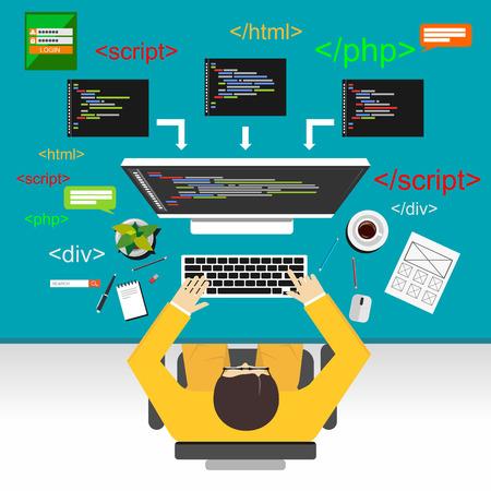 Web development illustration. Flat design.Flat design illustration concepts for analysis, working, brainstorming, coding, programmer, and teamwork. Vettoriali