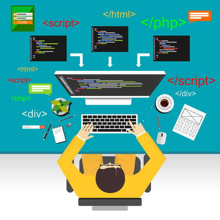 Web development illustratie. Flat design.Flat ontwerp illustratie concepten voor analyse, werken, brainstormen, codering, programmeur, en teamwork.
