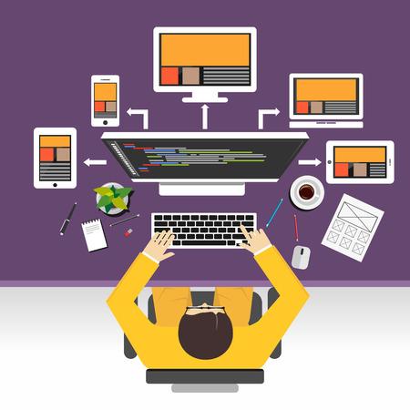 prototipo: Web concepto de diseño ilustración. Piso conceptos de diseño ilustración de diseñador de páginas web, desarrollo web, desarrollo web, diseño de páginas web sensibles, programación, programador.