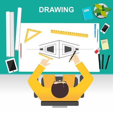 Drawing illustration. Architecture concept.  Flat design illustration concepts for construction, working, drawing, architectural, business, analysis, planning, development, brainstorming.