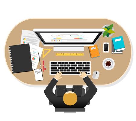 gestion documental: Ilustración del espacio de trabajo del hombre de negocios. Piso conceptos de diseño ilustración de espacio de trabajo, el trabajo, la supervisión, los negocios, la carrera, la planificación, el lugar de trabajo, el desarrollo, la lluvia de ideas, trabajador, gestión.