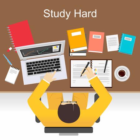 study: Estudiar Ilustración del concepto de fuerza. Piso conceptos de diseño de ilustración para estudiar mucho, trabajo, investigación, análisis, gestión, profesionales, de intercambio de ideas, de finanzas, de trabajo.